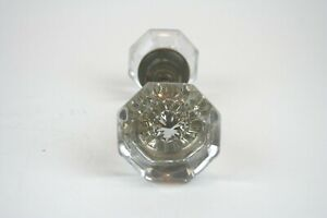 Vintage 8 Point Crystal Glass And Brass Door Knob Set W Spindle Antique Octagon