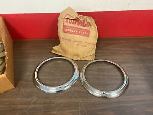 1942 1946 1947 Car Truck Ford Head Light Lamp Trim Ring Bezels Pair Nos 720