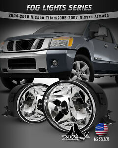 For 04 15 Nissan Titan 05 07 Armada Fog Lights Assembly Bumper Lamps Clear 2pc