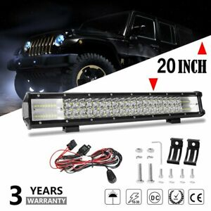 20inch 480w Triple Row Flood Spot Combo 42000lm Bar With Wiring Off Road Ute Atv