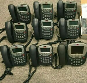 Lot Of 10 Avaya 4600 Series Ip Business Phones W Stands Headsets Cords More