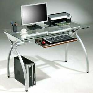 Tempered Glass top Steel Frame Computer Desk Silver Clear Medium