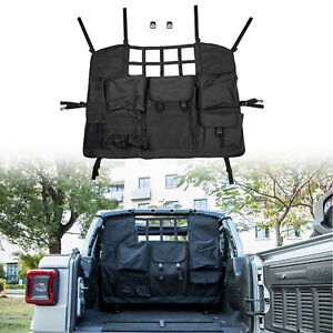 Rear Seat Cover Cargo Net With Storage Bags For 2007 2020 Jeep Wrangler Jk Jl