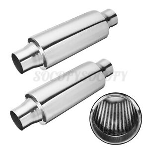2x 2inch Inlet Out Universal Car Exhaust Turbine Muffler Resonator 12 Overall