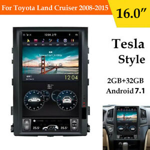 16 Android 7 Tesla Vertical Screen Gps Radio For Toyota Land Cruiser 2008 2015