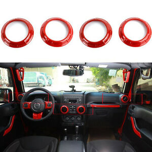 4pcs Red Inner Air Conditioning Vent Covers Trim For Jeep Wrangler Jk 2007 2018