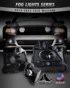 For 13 14 Ford Mustang Fog Lights Assembly Bumper Driving Lamp Clear Pair Wiring