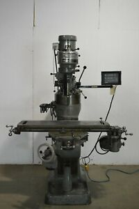 Bridgeport J head Step Pulley Vertical Milling Machine With Newall 2 Axis Dro