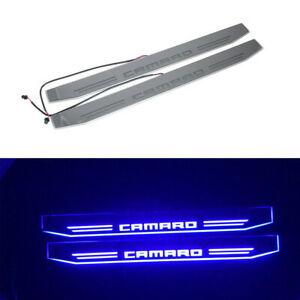 2pcs Blue Car Door Blue Led Moving Light Car Door Sill Welcome Pedal For Camaro