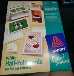 Avery 15 White Half fold Cards With Envelopes For Ink Jet Printer