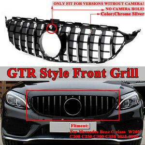 For Mercedes Benz C Class W205 C200 C250 15 18 Amg Gtr Style Front Bumper Grille