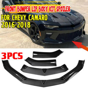 3pcs Carbon Fiber Look Front Bumper Lip Splitters Spoiler For Chevy Camaro 15 18