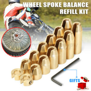 14x Universal Motorcycle Motocross Brass Wheel Spoke Balance Weights Refill Kit