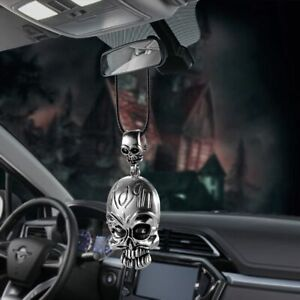 Car Pendant Personality Metal Skull Rear View Mirror Decoration Hanging Charms