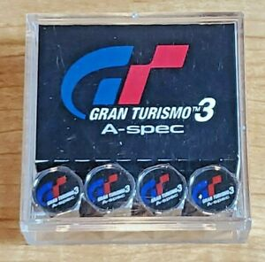 Gran Turismo 3 A Spec Logo Valve Stem Caps Chrome Tire Kit Wheels Very Rare
