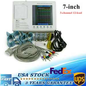 7 lcd Digtal 3channel 12 Lead Electrocardiograph Ecg ekg Machine Interpretation