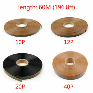 60m 10 12 20 40pin Color Rainbow Ribbon Wire Cable Flat 1 27mm Spacing Pitch