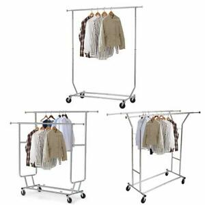 Heavy Duty Single double Rail Wheel Adjustable Garment Rack Shelf Clothes Hanger