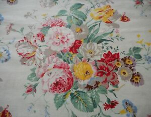 Antique Vintage French Shabby Cottage Floral Butterfly Fabric Curtan Panel