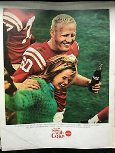 Coca Cola~Football~Player~Woman~Celebrate~Full Page~1966 Vintage Print AD A8
