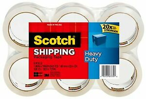 Scotch Heavy Duty Shipping Packaging Tape 1 88 Inches X 800 Inches 6 Rolls