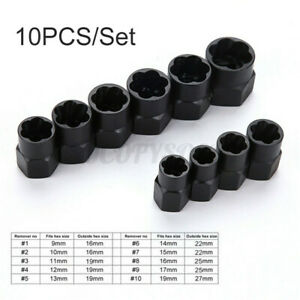 10pack Set Damaged Nut Bolt Remover Stud Extractor Set Broken Bolt Removal Tool