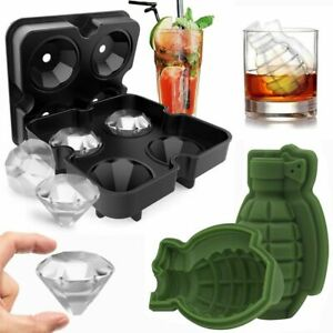 Ice Balls Maker Diamond Grenade Tray Mold Cube Whiskey Cocktails Silicone 3d Usa