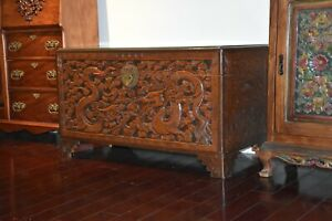 Antique Chinese Camphor Wood Hand Carved Chest Made In 1960 70s Kd9975