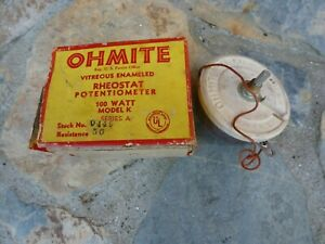 Ohmite Rheostat Potentiometer 100 Watt Model K In Box