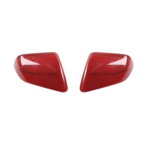 Car Rearview Mirror Cover Tirm Decor Frame For Ford Mustang 2015 19 Red Carbon F