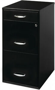 Metal File Storage Cabinet 3 Drawers Black Files Organizer Office Home Solution