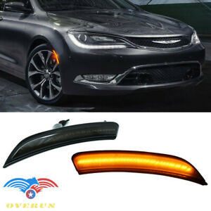 Fit 2015 17 Chrysler 200 Front Bumper Amber Led Side Marker Smoke Housing Light