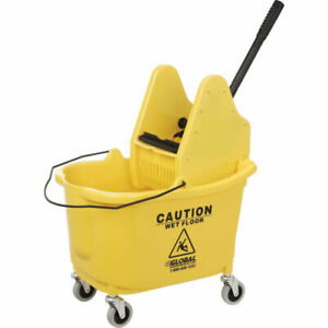 Mop Bucket And Wringer Combo Corrosion Resistant Yellow Polypropylene Down Press