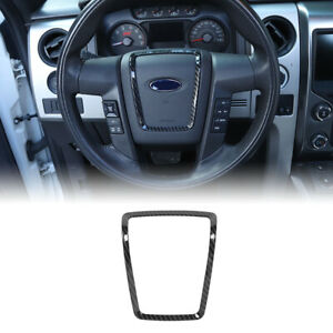 Steering Wheel Trim Cover Bezel Carbon Fiber For Ford F150 2009 2014 Styling Abs