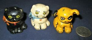 Lot Of 3 Antique Hubley Pa Usa Cast Iron Dog Cat Toy Art Statue Paperweight Us