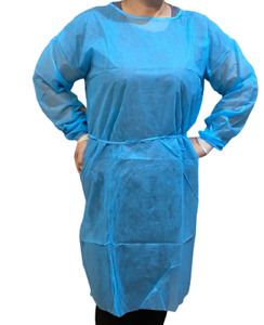 10 Pcs Medical Dental Isolation Gowns Disposable 2 Knit Cuff Gown Ppe