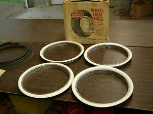 Nos Oem Ford Rotunda 14 White Wall Trim Rings Fairlane Galaxie Mustang Falcon