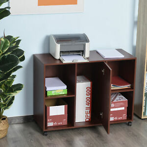 Vinsetto Mobile Printer Stand 360 Degree Casters P2 Particle Board Brown