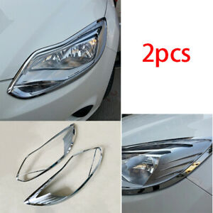 Fit For 2012 2014 Ford Focus Chrome Abs Exterior Head Light Lamp Cover Decor 2pc