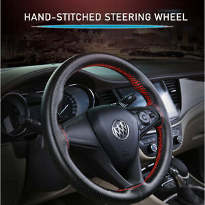 Black red Diy Pu Leather Auto Car Steering Wheel Cover With Needles And Thread