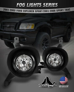 For 01 05 Ford Explorer Sport Trac Fog Lights Assembly Bumper Clear Lamps 2pc