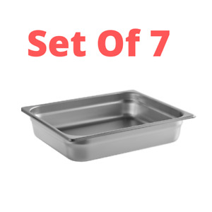 7 pack Stainless Steel Steam Table Pan 1 2 Size 2 1 2 Deep Buffet Warmer Pans