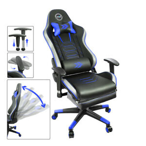 Nrg Innovations Height Reclinable Adjustable Office Gaming Chair Blue Rsc g100bl