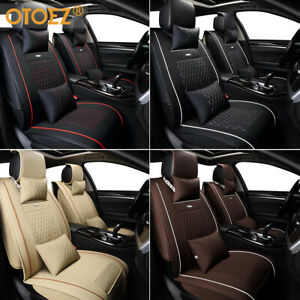 Car Seat Cover Front Rear Full Set Leather Interior Cushion Protector 4 Season