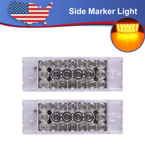 2pc 6 X 2 Led Marker Trailer Rv Light 20led Turn Signal Light Clear Lens Amber