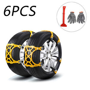 6pcs Snow Tire Chains Of Suv Thickened Anti Skid Emergency Strap Us