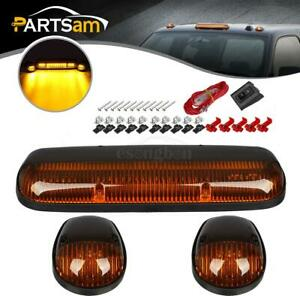 3pc Amber Cab Roof Marker Yellow Led Lights For Chevy Silverado gmc Sierra 02 07