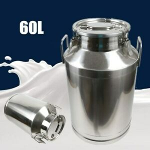 60l Milk Can Pail Heavy gauge Stainless Steel Bucket Silicone Seal 1mm Thickness