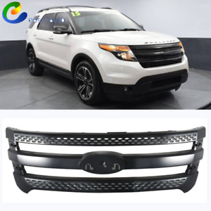 Black Front Upper Bumper Grill Overlay For Ford Explorer 2011 2015 2012 2013 14
