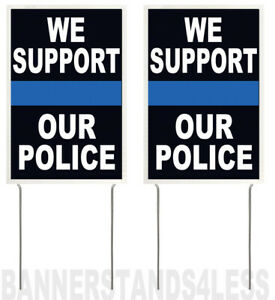 8x12 Inch We Support Our Police Yard Sign With Stake 2 Pack Vkb